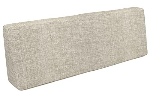 POKAR Cojín-Respaldo 120x40x20/10cm para Europalés/Europalet, cojín para jardín o terraza, Espuma fría, cómodo Respaldo para sofá de paletas DYI, Interior y Exterior, sin palés, Beige