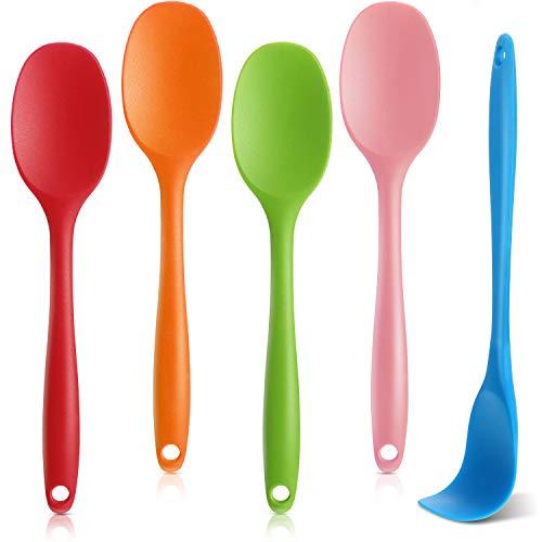 5 Pezzi Cucchiaio Silicone Miscelazione Cucchiai Utensili Resistenti al Calore Antiaderenti Un Pezzo Design Cucchiaio Servizio Silicone per Cucina 8,3 Pollici (Rosso, Verde, Blu, Rosa, Arancione)