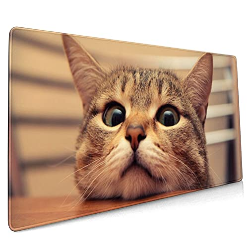 Curious Cute Cat Desk Pad 35.4x15.7 Inch XXL Funny Kitty Looking at You Design Extended Mouse Pad Non-Slip Rubber Base Large Gaming Mousepad Stitched Edges Keyboard Mouse Mat for Office Home