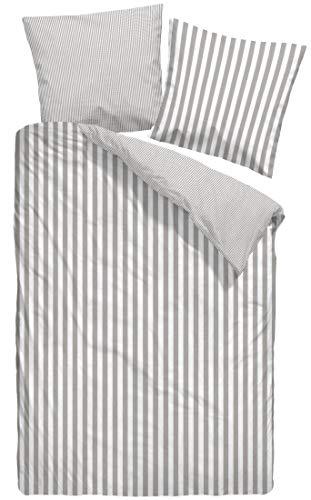 Dormisette Biber Wende-Bettwäsche MODERN Stripe kuschelweiche Winterbettwäsche Zeitlose Streifen 135 cm x 200 cm beige-weiß