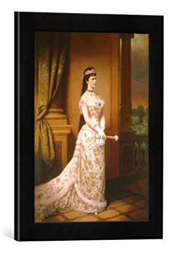 Gerahmtes Bild von Georg Raab Elisabeth v.Österr,Porträt m.Rubin/Raab, Kunstdruck im hochwertigen handgefertigten Bilder-Rahmen, 30x40 cm, Schwarz matt