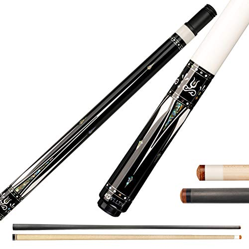 KL-01F Real Wood Inlay Pool Cue Stick with 2 Low Deflection Shafts (1 pc Carbon Fiber Shaft, 1 pc Carbon Tube Inside Wooden Shaft, 4 Pcs Carbon Tubes inside Butt, with Extension) (KL-01FW, 12.75mm)
