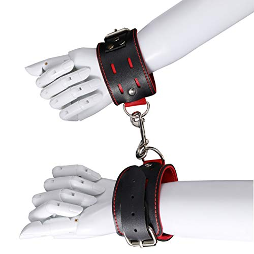 Red and black stylish leather yoga accessories, adjustable cuffs,...