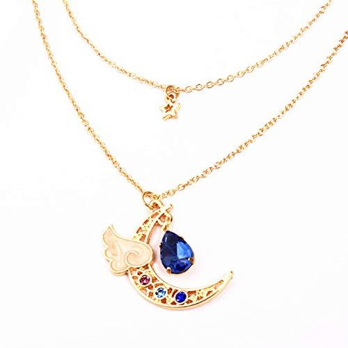 QiaoShiRen Colgante de Plata 925 Accesorios de Moda Color Lilac Angel Wings Cadena de Vidrio Clavícula Amor MS Necklace Hermoso Regalo Collares Pendientes (Metal Color : 1)