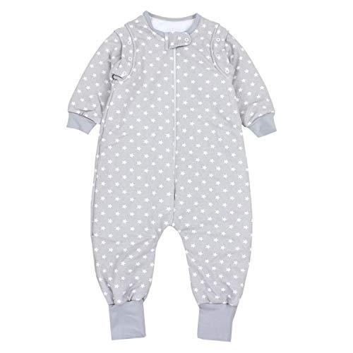 TupTam Baby Unisex Schlafsack mit Beinen und Ärmel Winter, Farbe: Sternchen Grau/Weiß, Größe: 104-110