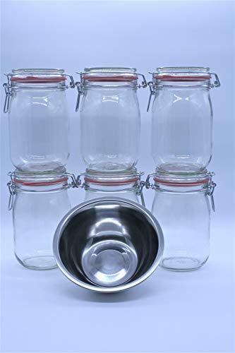 Lindkind Bügelgläser Einmachgläser 1 Liter, 6er Set mit Extra, Made in Germany, Vorratsgläser mit Deckel und Drahtbügel zum luftdichten Aufbewahren, Einkochen und Einlegen, Glas, Transparent