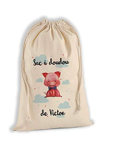 Sac à Doudou 100% Coton Bio - Cochon - personnalisé