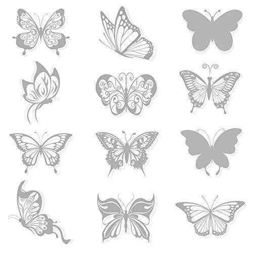 36 Stück Schmetterling Anti-Kollisions-Fenster Haftet Aufkleber, Fensteraufkleber Abziehbildern an, Wandsticker Wandtattoo Wanddeko für Wohnung, Raumdekoration
