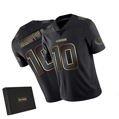 WHUI Garoppolo Rugby Jersey 10#, Camiseta de fútbol para Hombres 49ers, edición de Oro Negro, Caja de Regalo Negra XXL