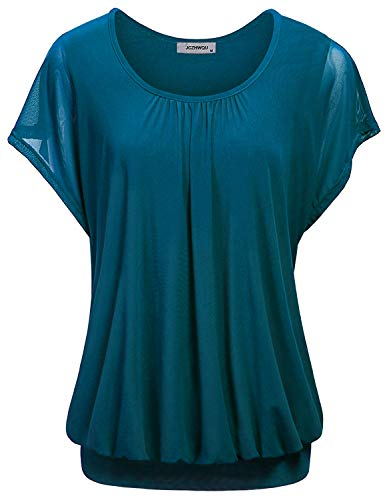 JCZHWQU Batwing Tops for Women, Juniors Scoop Neck Flutter Short Sleeve Solid Color Front Pleated Soft Lightweight Tunic Blouses and Shirts to Wear with Leggings Teal L
