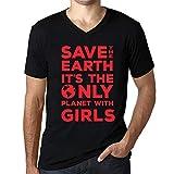 Cityone Uomo Maglietta Tee Vintage V-Collo T Shirt Save The Earth Girls Profondo Nero Testo Rosso