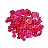 JLZK Luz DIY Cosecha 100 Piezas 2 Agujeros del Color Rojo de la Ronda de Resina Botones de Costura Scrapbooking Cardmaking Craft Multi Size Accesorios de Costura .Práctico (Color : Fuchsia)