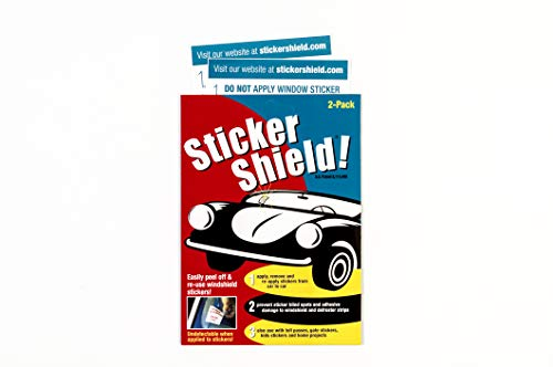 Sticker Shield - Windshield Sticker Applicator for Easy Application, Removal and Re-Application from Car to Car - 1 Pack of 4 inch x 6 inch Sheets (2 Sheets Total)