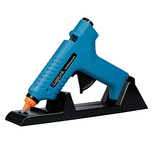 LogiLink WZ0052 – mini-varmhäftpistol 80 W idealisk för gör-det-själv (gör det själv) Arbeta med stativfot, färg: blå – med 2 patroner Ø 11 mm