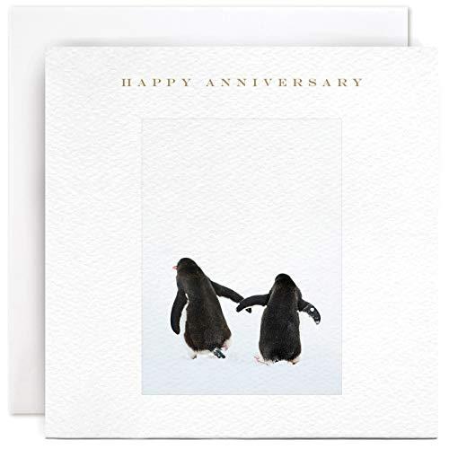 Susan OHanlon Tarjeta de aniversario – Pareja de pingüino feliz aniversario