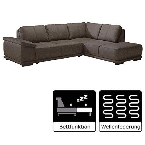 Cavadore Ecksofa Calypse mit Bett / Schlafsofa mit Ottomane rechts / Modernes Design / 273 x 83 x 214  (BxHxT) / Strukturstoff braun
