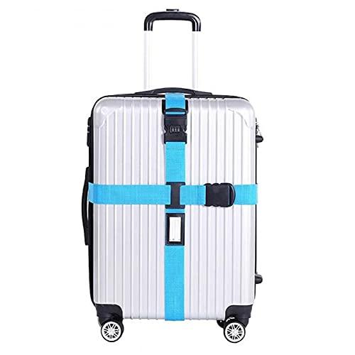 Correa De Equipaje Trans Cross Belt Embalaje Ajustable Maleta De Viaje Nylon 3 Dígitos Cerradura De Contraseña Cinturones De Equipaje (Color : Blue)