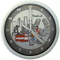 Nadal Reloj Pequeño Madrid En Bicicleta, Multicolor, 14,5 x 14,5 x 3,3 cm