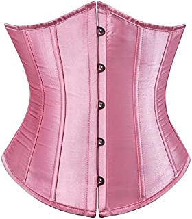 SYMG Ladies Pink Corset, Classic Satin Tight Waist Seal, Wedding Dress Bottoming Waist Clip, Abdomen Corset, Body Shaping Vest shapewear women (Size : M)