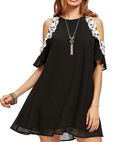 Aofur Women's Floral Lace Cold Sleeve Loose A Line Summer Chiffon Tunic Dress Plus Size S-4XL (XXX-Large, Black)