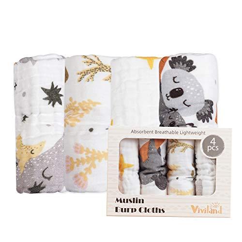 Viviland Baby Musselin Tuch 4 Stück Mullwindeln Spucktücher für Jungen und Mädchen, 26x50CM, Koala & Mond