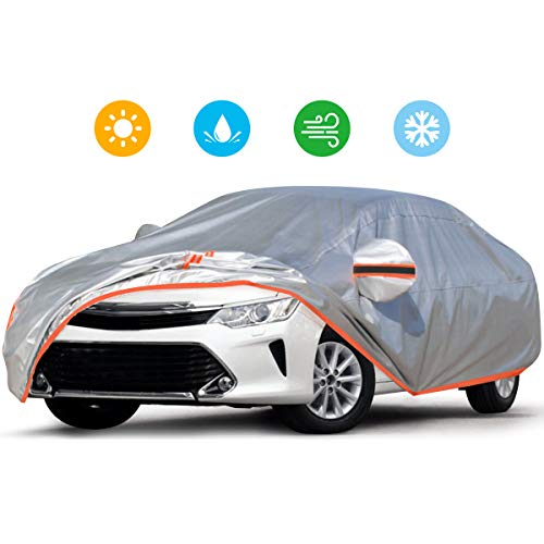Audew Car Cover 210D Oxford Fabric Car Cover for All Weather Protection-Waterproof Windproof Snowproof UV Resistant with Adjustable Straps/Reflective Strips Fits Sedan L(180'' to 190'')