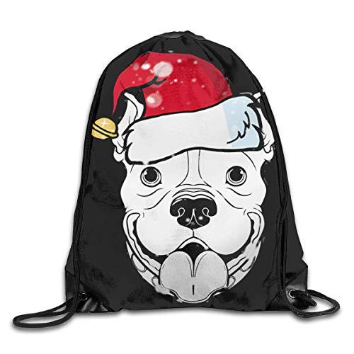 BK Creativity Cinch Bag,American Pitbull Terrier Dog At Christmas Santa String Backpack Bag,Casual Drawstring Laundry Bags For Adult Teens Kids,36x43cm