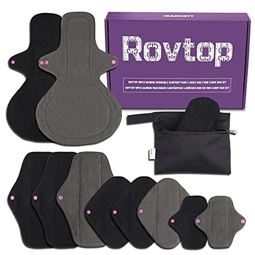 Rovtop 10PCS Ensemble de serviettes hygiéniques lavables, Protège-slips menstruels pour filles / femmes, Avec couches d'absorption de charbon de bambou(Noir)