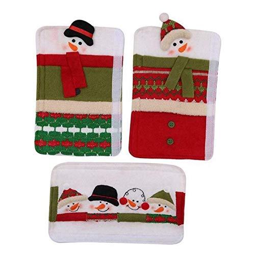 DAGONGJI 3pcs Weihnachten Kühlschrank Kühlschrank Dekorationen Set Griffabdeckungen Mikrowelle Ofentür für Home Küche Kühlschrank Geschirrspüler Protector Home Decors