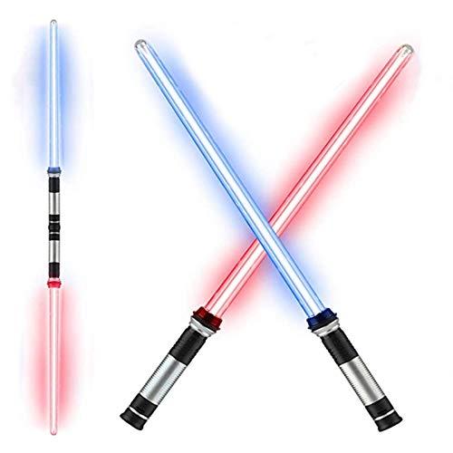 TLLY Paquete De 2 Espadas Láser Telescópicas Extensibles Y Plegables, Juguetes 2 en 1 Espadas FX Juego de Espadas,Varilla Luminosa LED cambiante Multicolor para Cosplay