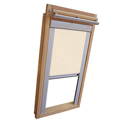 Verdunkelungsrollo THERMO Alu-Rückseite für VELUX Dachfenster TYP GGL/GPL/GGU/GPU - PK10 - Farbe Creme - mit Aluminium Seitenschienen - KLICK Montage