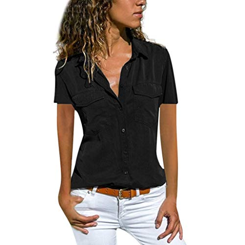 VEMOW Blusas Camisetas Mujeres Manga Corta Suelta Manga Corta Cuello Bolsillos Botones Tops(Negro,L)