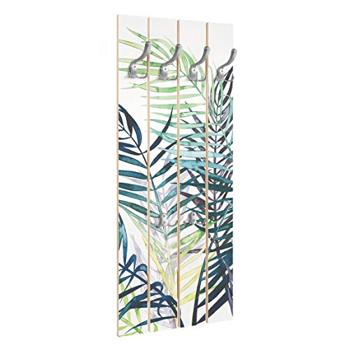 Bilderwelten Perchero de Madera Follaje Exótico - Palm Tree - Ganchos cromados 100x40 cm