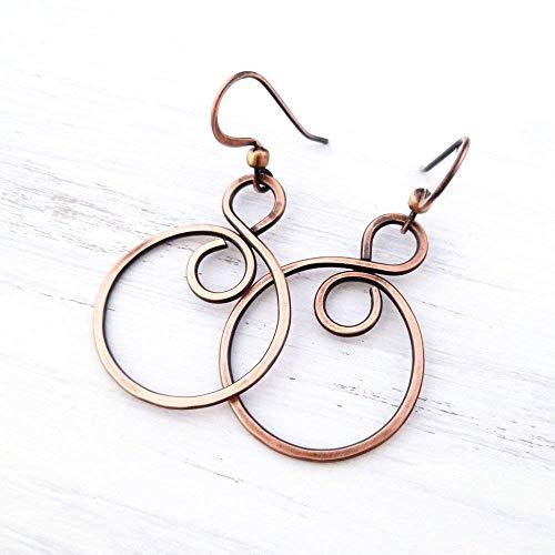 Handmade Solid Copper Infinity Hoop Wire Wrapped Earrings