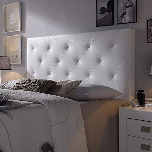 Cabecero tapizado Rombo 140X60 cm Blanco, para Cama de 135 cm, Acolchado con Espuma, 8 cm de Grosor,...