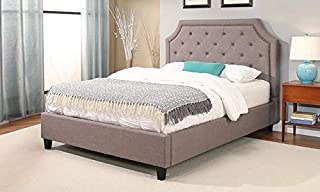 A to Z Furniture - Sierra Nailhead-Trim Upholstery Platform Bed King without Mattress in Grey Color