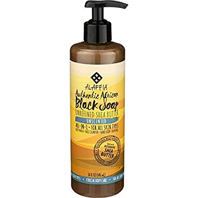 Alaffia Authentic African Black Soap, All-in-One Body Wash, Shampoo, and Shaving Soap, All Skin and Hair Types, Fair Trade, No Parabens, Non-GMO, Unscented, 16 Ounces