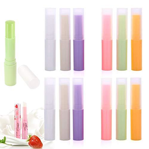 xianzhanEU 12 Stk Leere Lippenstifthülsen Nachfüllbar mit Kappe PP Kunststoff Lippenstift Hülsen für DIY Hausgemachte Lippenbalsams, 6 Farbe (3 ml)