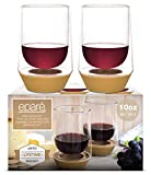 Eparé Wine Glasses - Set of 2-10 oz Stemless Tumbler Cup - Stem Free Tumblers - Spill Preventing Glassware Cups - Thick Silicone Base