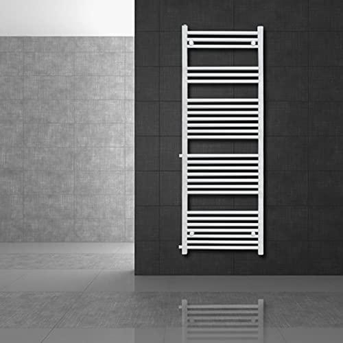 ECD Germany Radiador toallero Sahara - 500 x 1600 mm - Blanco - Recto - Con conexión lateral - Radiador secador y calentador de toallas - Calefactor de baño - Radiador estilo escalera - No electrico