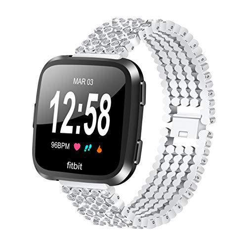 GhrKwiew Correa Ajustable para Fitbit Versa Band, Bling Pulsera de Repuesto Pulsera con Diamantes de imitación Accesorios de Brazalete de Diamantes para Fitbit Versa 2/ Versa/Versa Lite (Plata)