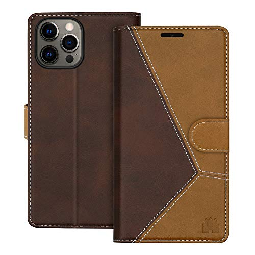 """Caislean Compatible with iPhone 12/12 Pro Wallet Case (6.1"""" 2020) PU Leather Flip Cover [RFID Blocking] Credit Card Holder [Soft TPU Shell] [Kickstand Function] Magnetic Full Protection Case, Brown"""