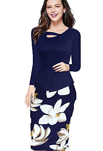 YALI Langärmeliges Kleid, Rundhalsausschnitt, bedruckt, schmal, dünn, Blau, XXXL