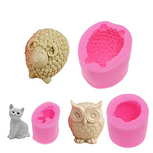 showll 3D Tier Silikonform Schaf Eulen Katze Formen Seifenform Gießformen Kerzenform Seifengießform für Schokolade Seifen Kuchen Cupcakes Süßigkeiten Fondant-Formen