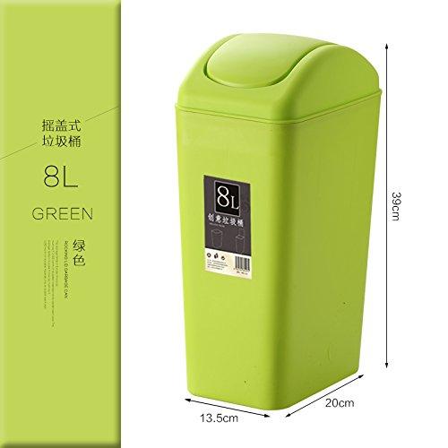 fuckluy Bacs à ordures extérieurs La Salle de séjour, Toilettes Couvrir Grand Rectangle avec Couvercle et Vert 8L
