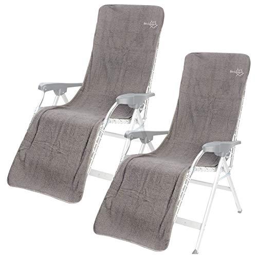 2 x Universal Frottee Sitzbezug für Liegestuhl - grau - 180 x 58 cm - Baumwolle - Stuhlbezug - Sitz Auflage - Campingstuhl Klappstuhl Gartenstuhl Schonbezug weicher Bezug Überzug für Stühle Stoffbezug