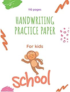 Cursive Practice Paper for Kids -48: Blank Writing Sheets Notebook with Dotted Lines for Kids (Preschool, Kindergarten, Pre K, K-2 Students), 110 pages.
