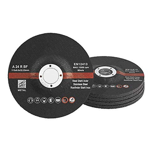 Grinding Discs / Pack of 5 / Diameter 115 x 6 mm / for Cutting or Angle Grinder / Abrasive Mop Discs / for Steel and Non-ferrous Metal