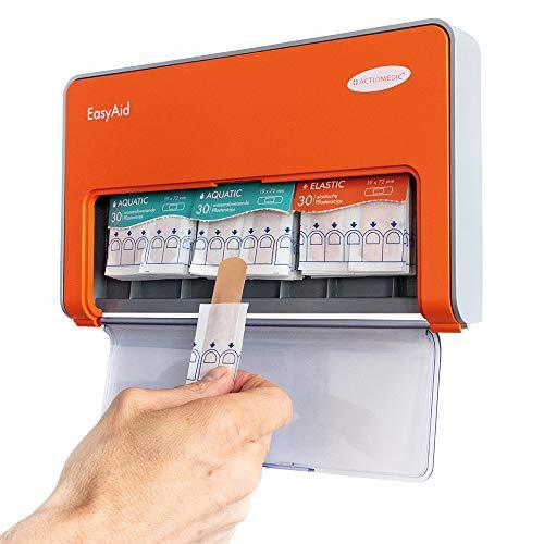 ACTIOMEDIC EasyAid Pflasterspender Standard, inkl. 90 Pflaster-Strips, 60x wasserabweisende Pflaster & 30x elastische Pflaster Easyaid