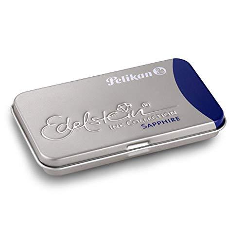Pelikan 339630 GTP/6 Tintenpatronen Edelstein Ink im Metalletui Sapphire, blau (weitere Farb-Variationen verfügbar)